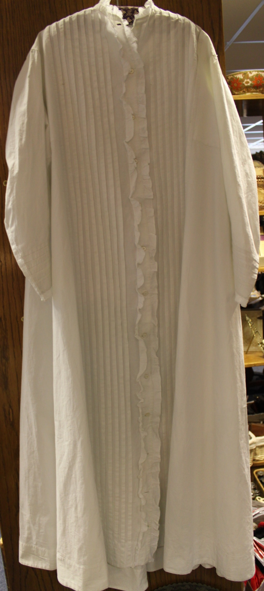 Pin-Tucked White Cotton Victorian Dressing Gown
