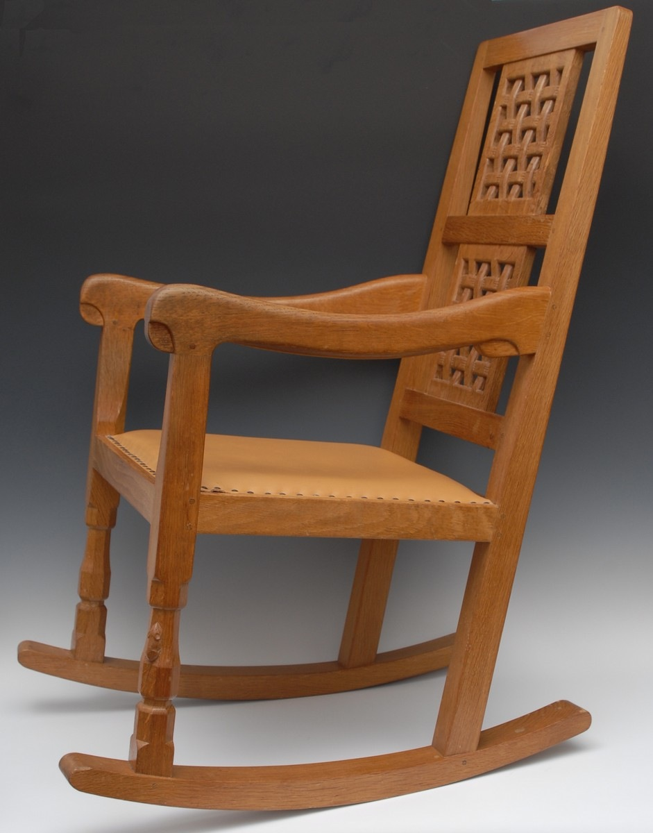 Mouseman oak rocking chair with carved lattice back