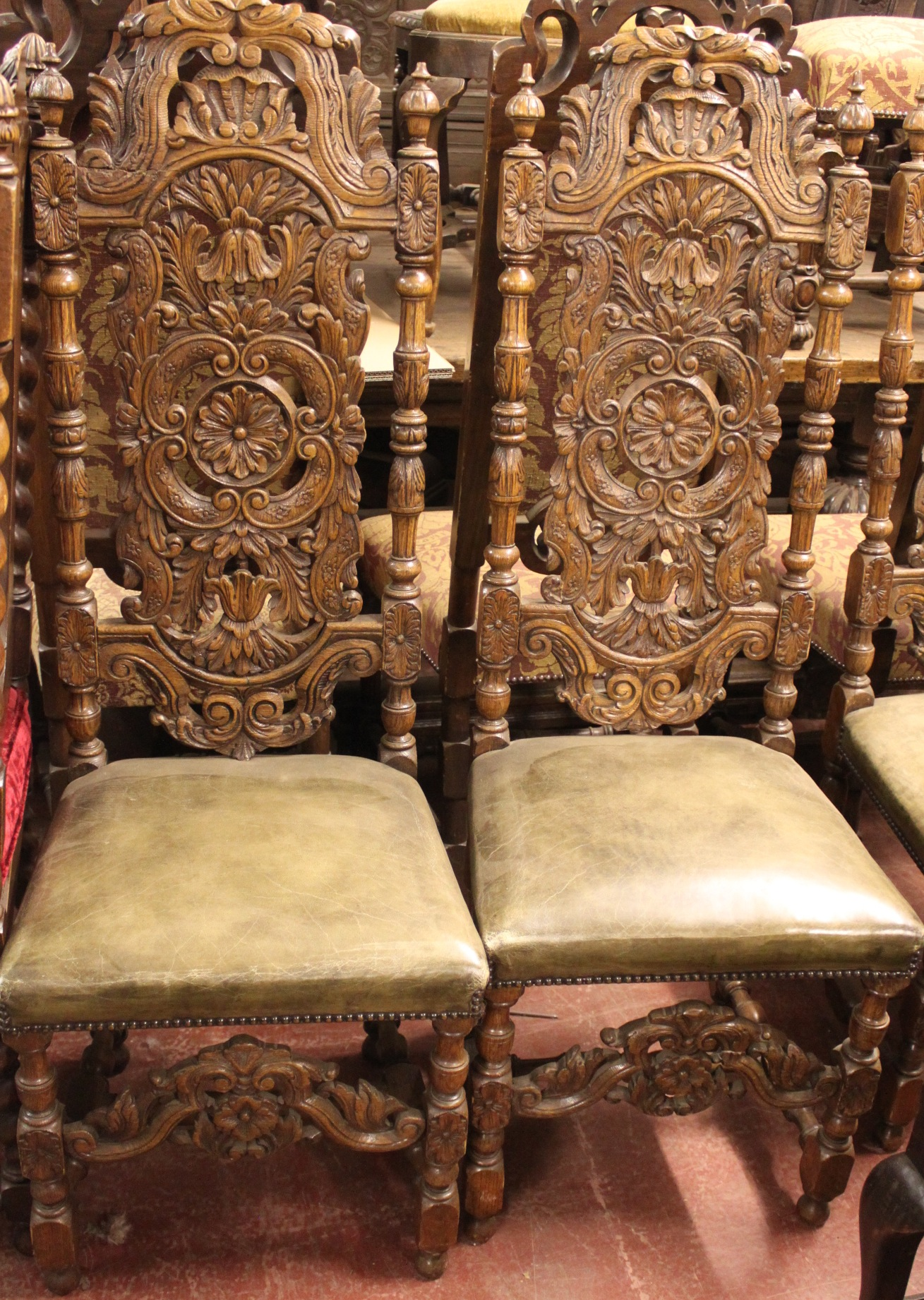 Carved Oak High Back Dining Chairs