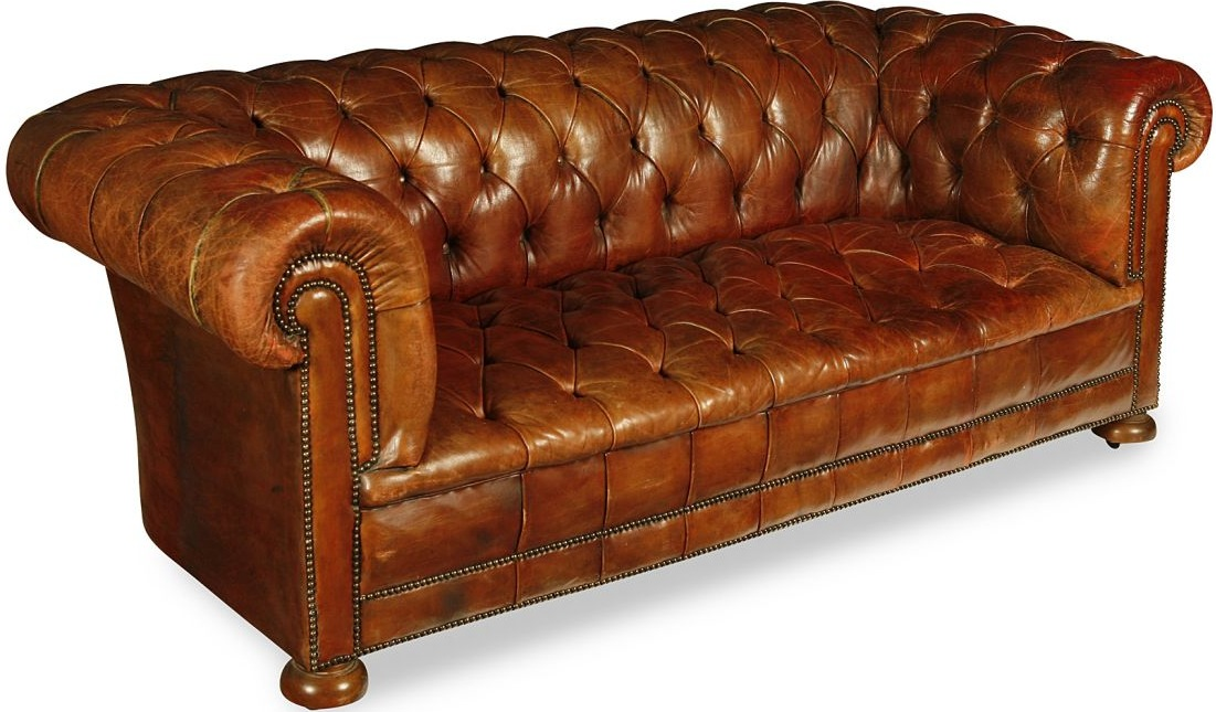 Edwardian Brown Buttoned Leather Chesterfield Settee