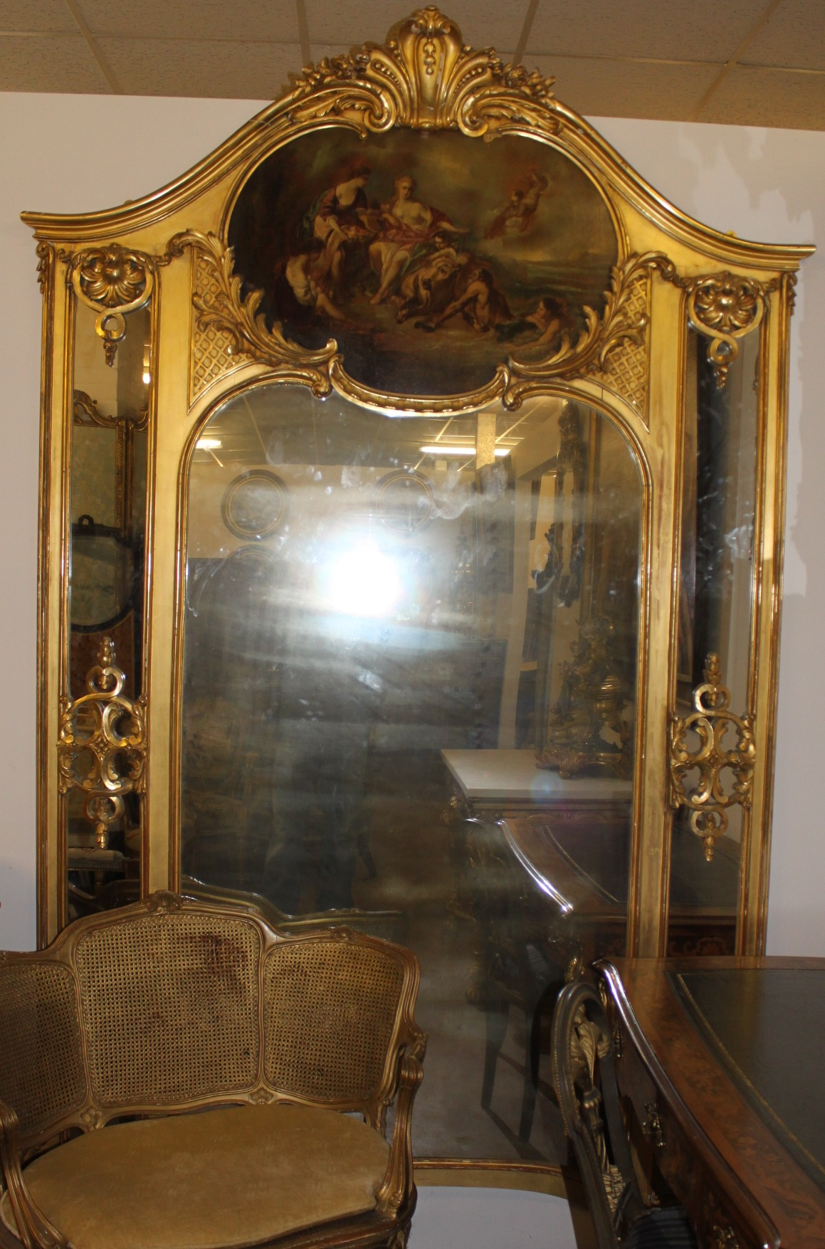 Large Gilt Framed Mirror With Decorated Panel